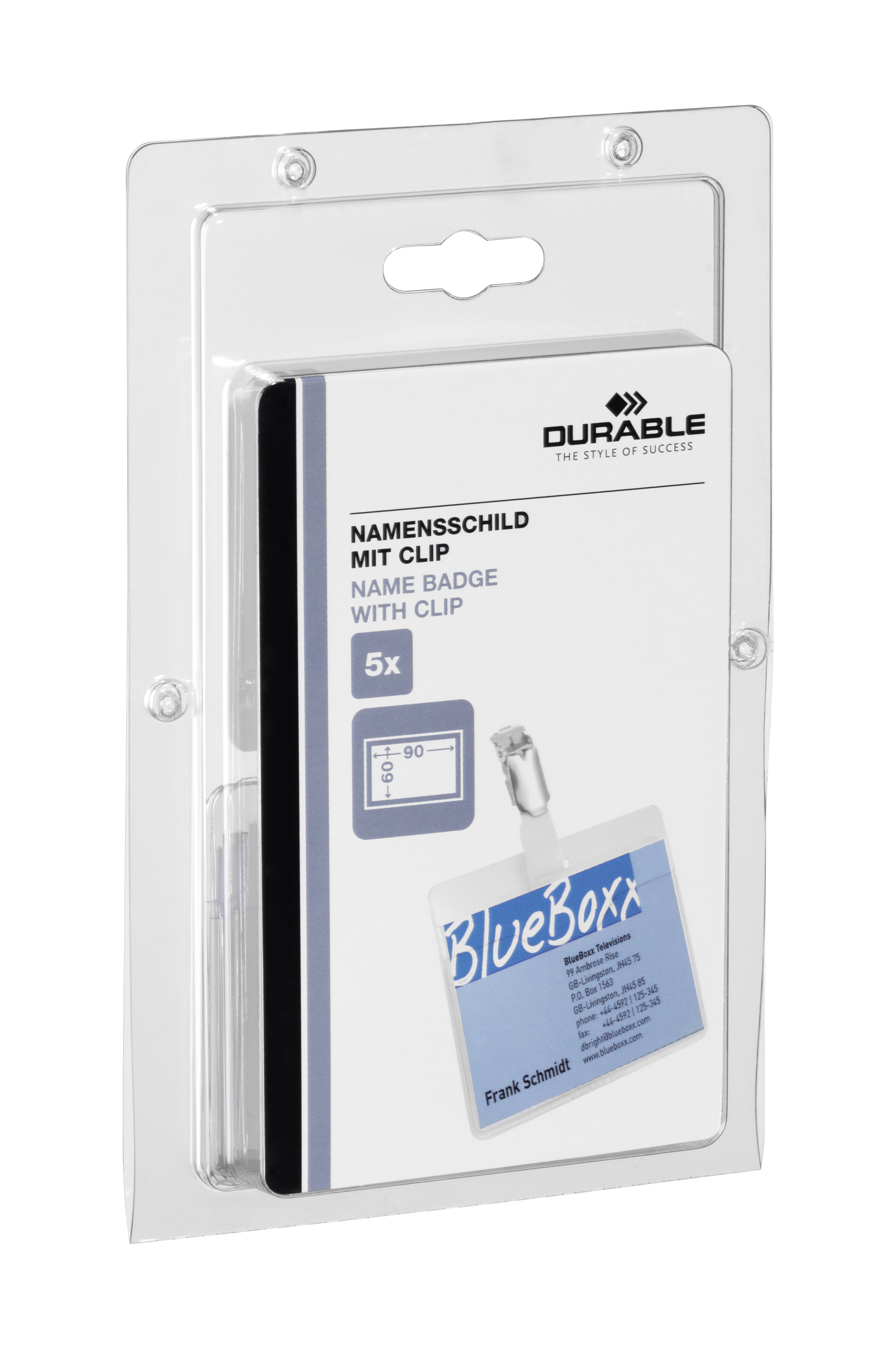 DURABLE NAMENSSCHILD MIT CLIP 1 PAK Z861299