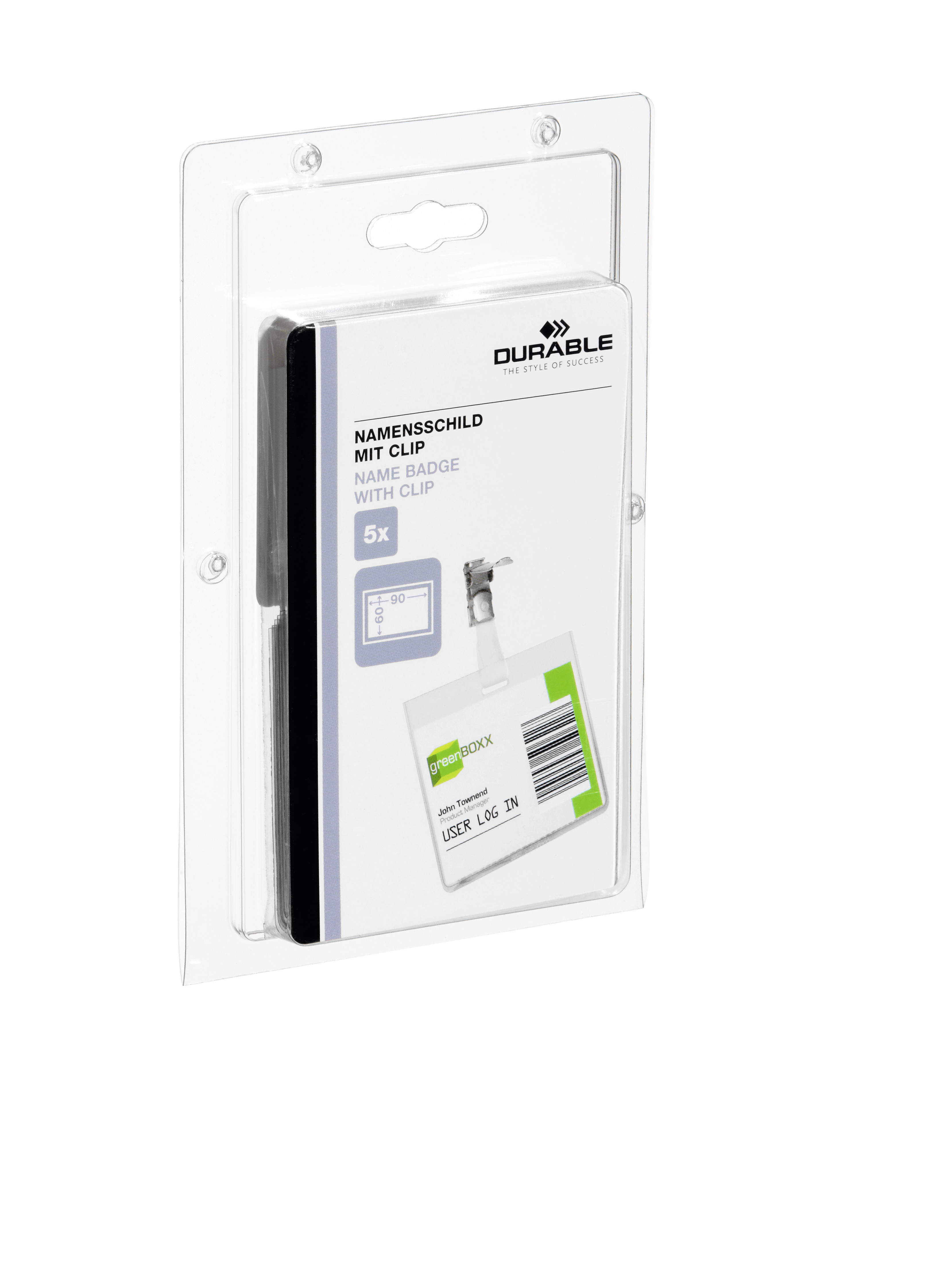 DURABLE NAMENSSCHILD MIT CLIP 1 PAK Z860399
